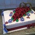 Tort urodzinowy na 60- tkę #urodzinowy #tort #okazjonalny #tort #torty #róże #kwiaty 60 #urodziny