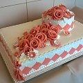 Tort weselny 12 kg biało -łososiowy #tort #weselny #tort #okazjonalny #tort